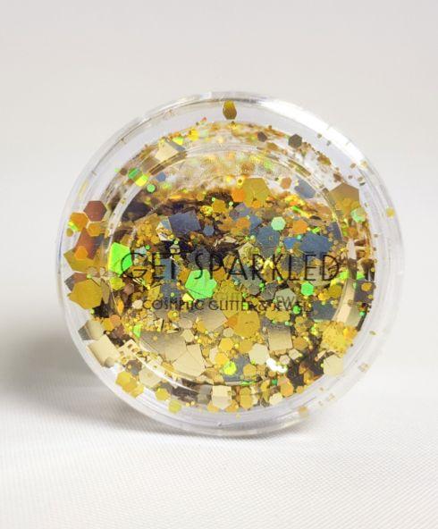 Golden Goddess Super Chunky Glittermix, gouden glitter kopen cosmetisch festival make up