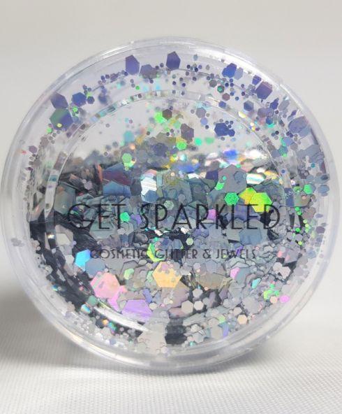 Illuminatie Chunky Glittermix, festival glitters zilver kopen