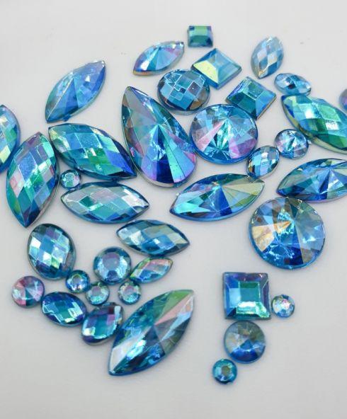 Rainbow Shine Mixed Jewels blue, Blauw rhinestone glittersteentjes voor gezicht kopen