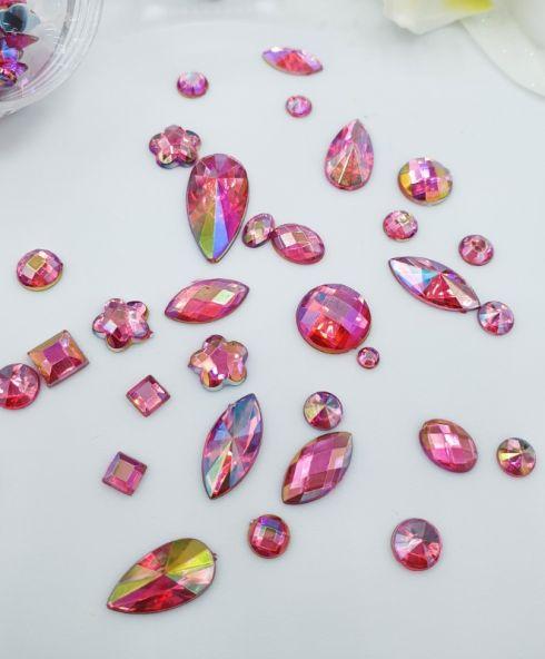 Rainbow Shine Mixed Jewels dark pink, Roze rhinestone glittersteentjes kopen