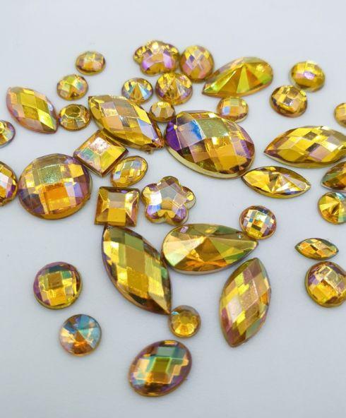Rainbow Shine Mixed Jewels yellow, gele rhinestones glittersteentjes voor gezicht kopen
