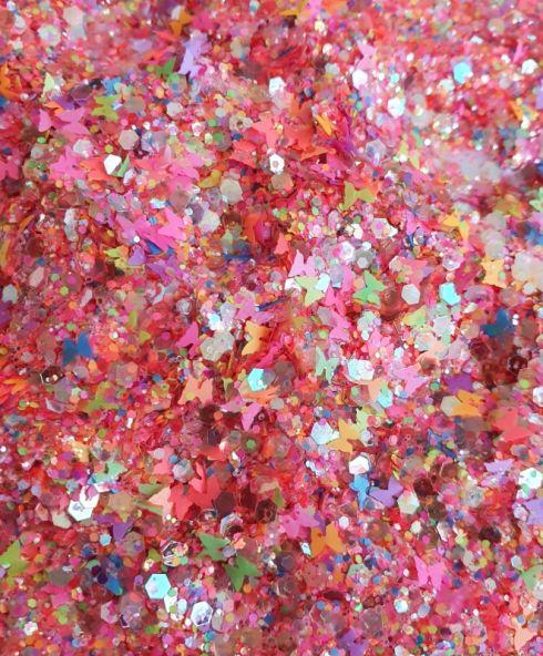 Butterfly Fiesta Chunky Glittermix, neon vrolijke glitter make up kopen