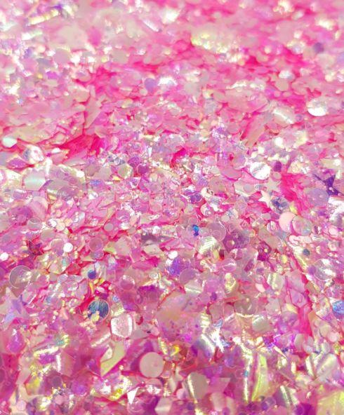 Moon Glow Pink Chunky Glittermix, neon roze glitter festival outfit kopen