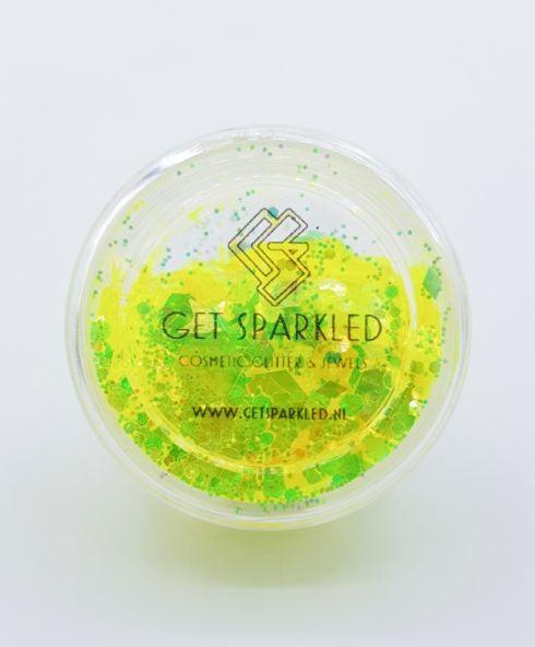 Moon Glow Yellow Iridescent Chunky Glittermix, neon geel glow in the dark glitter festival make up kopen