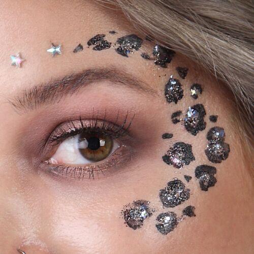 Panterprint glitterlook met face paint en biodegradable glitter